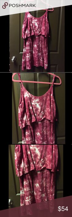 Maroon tie dyed tiered low back mini dress Maroon tie dyed tiered low back mini dress. Gently worn, in perfect condition. Very comfortable and lightweight fabric. Runs a little big so it's very roomy. Adjustable length straps and low back neckline. Originally purchased from a boutique Pearl Dresses Mini
