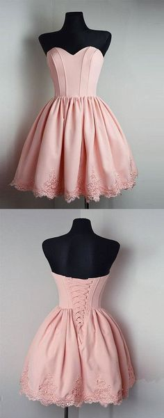 Strapless Sweetheart Short Pink Ball Gown Cute Mini
