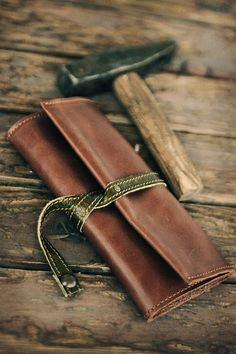 Olive  Leather Tobacco Pouch by TheDrifterLeather on Etsy, $30.00