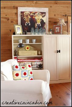 Creative Cain Cabin Cow Print in Living Room