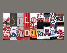 St. Louis Cardinals letter art -- made from signs found all around the stadium