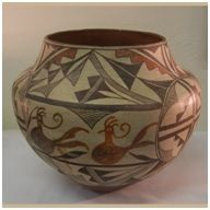 A one-of-a-kind historic 1930s #Acoma olla. The olla's features are very unique, the pattern unlike anything we have seen before. The original selling price, marked on the bottom of the pot, was $25.