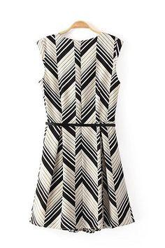 A-line O-neck Sleeveless Striped Chiffon Dress