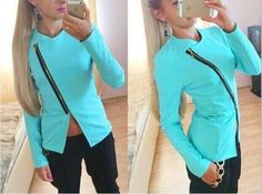 Oblique Zipper Women Outerwear Jackets