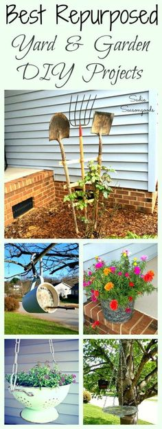 Some of my favorite Repurposing and Upcycling DIY Projects are for my yard, garden, and birds! Whether it's a vintage planter, a bird feeder, a gardening organizer, a DIY trellis, or a bird bath- I've got you covered with plenty of outdoor inspiration! #S