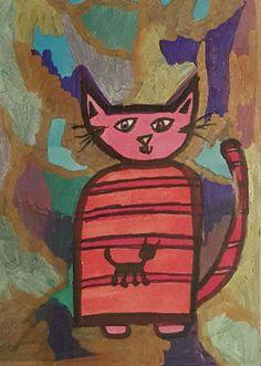 BIPOLAR BRUT ART ORIGINAL ACEO OUTSIDER NAIVE RAW CAT MINIATURE SMALL ABSTRACT  #OutsiderArt Marci Del Mastro