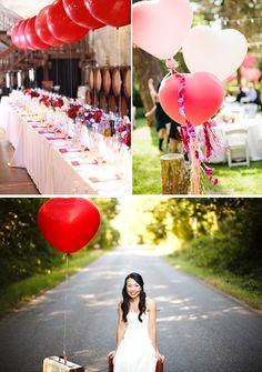 Decoración para boda en rojo con globos