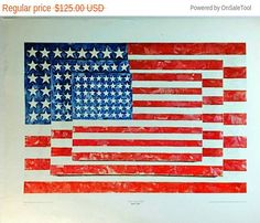 "white surface Three Flags 1958 JASPER JOHNS    Provenance: New York Fine Art Collector's Estate   Condition: Good, some faint dents from handling and corners slightly worn.   Paper size: approximately 22 1/2"" x 28 1/2""   Image size: approximately 16 1/2"" x 24""    Vintage Gallery Art Poster Published by Published by Shorewood Publishers, Inc., New York Collection of Mr. and Mrs. Burton Tremaine, Meriden, Connecticut        Due to age some of the corners may have flaws , or spotting around…"