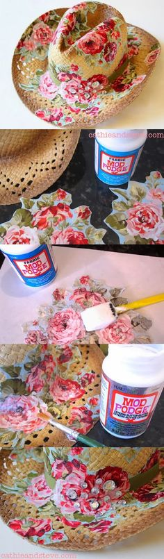 Decoupage a straw hat with Mod Podge - fab! Diy Projects To Try, Craft Projects, Deco Podge, Diy And Crafts, Arts And Crafts, Hat Crafts, Mod Podge Crafts, Diy Accessoires, Diy Clothing