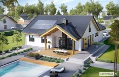 Find home projects from professionals for ideas & inspiration. Projekt domu Simon by Pracownia Projektowa ARCHIPELAG Design Exterior, Bungalow House Design, Solar House, Dream House Exterior, Modern House Plans, Design Case, Home Fashion, Ideal Home, My Dream Home
