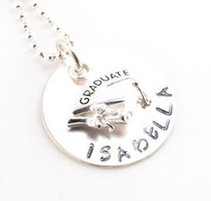 Graduate Personalized Hand Stamped Necklace