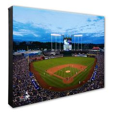 You can't get enough of your Kansas City Royals! Celebrate their accomplishments with this awesome x Kauffman Stadium Canvas. Crisp graphics let you showcase your faith in the Kansas City Royals. Mlb American League, Kauffman Stadium, Kansas City Royals, Baseball Field, In This Moment, Canvas, Sports, Paint, Fitness