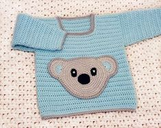 Crochet Pattern | Baby Sweater - with bear front pocket - 3 sizes