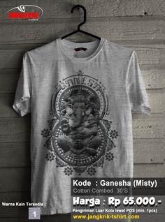 Koas Ganesha  Bahan : cotton combed 30s Warna : abu-abu misty Size : S, M, L, XL  Harga Rp 65.0000  Fast respon: SMS : 0877 3862 6309 WA : 0878 3838 0888 BBM : 52820605