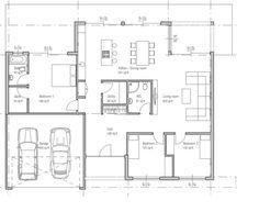 Plano de casa de una planta moderna con 3 dormitorios y 2 garaje-2