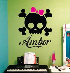 Custom Girl Skull with Bow Decal Sticker Wall Girl Room Teen Kid Children Boys Bedroom Decor, Girl Decor, Bedroom Themes, Preteen Girls Rooms, Skull Bedroom, Girl Skull, Crochet Skull, Boy Girl Room, Teen Kids