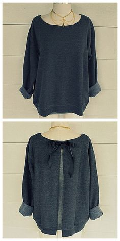 DIY Ribbon Tie Sweatshirt Refashion Tutorial from Wobisobi.Except for sewing a teeny bit where you attach the ribbon, this is a no sew DIY. For a huge archive of excellent DIY sweatshirt restyles go here.