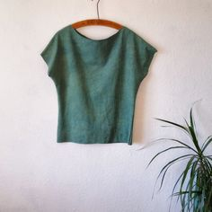 Organic cotton tshirt top teal green naturally by EthicalLifeStore