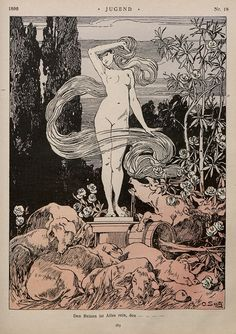 "Jugend (""Youth"" in German) was a German art magazine that was created in the late century. It featured many famous Art Nouveau artists and is the source of the term ""Jugendstil"" (""Jugend-style""), the German version of Art Nouveau. Art Inspo, Kunst Inspo, Inspiration Art, Art And Illustration, Fantasy Kunst, Fantasy Art, Art Nouveau, Art Noir, Arte Obscura"