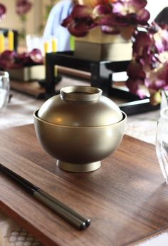 Japanese lacquer soup bowl