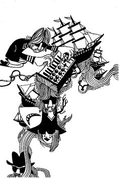 Synth galleon dreams  Pete Fowler All Print, New Work, Jazz, Tattoo Ideas, Sketches, Artists, Dreams, Black And White, Studio