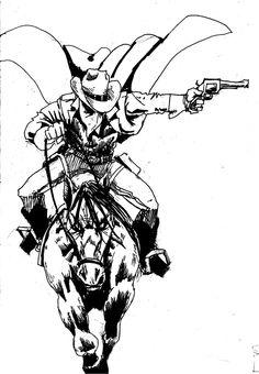 a coyboy, could be vigilante, could be lone ranger, could be no one. doesnt really matter. just a cowboy and a horse bucking cowboy Fantasy Comics, Fantasy Art, Tribal Hand Tattoos, Cowboy Tattoos, Western Comics, The Dark Tower, Real Cowboys, Tinta China, Lone Ranger