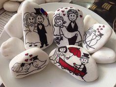 Bride & Groom stone painting