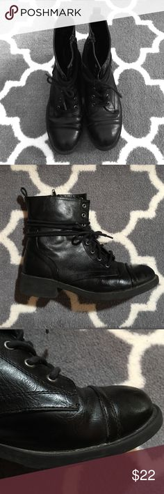 Combat Boots Comfortable pair of combat boots. Perfect for colder weather as they pair well with calf socks. Shoes are in good condition though they show some signs of wear (as pictured). Skechers Shoes Combat & Moto Boots
