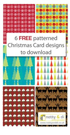 6 Print-Pattern Xmas Card Designs, free to download