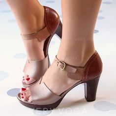 Women's PU Chunky Heel Sandals Pumps Peep Toe With Buckle shoes - elegante Schuhe Chunky Heel Pumps, Pumps Heels, Stiletto Heels, High Heels, Lace Up Heels, Strap Heels, Red Heels, Ankle Straps, Strap Sandals