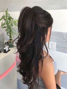 Mousse on damp hair. Blow dry hair with a round brush. Curl the hair . - Mousse on damp hair. Blow dry hair with a round brush. Curl the hair … – ponytail hairstyles, - Wedding Hair And Makeup, Hair Makeup, Ponytail Wedding Hair, Bridesmaid Hair Ponytail, Damp Hair Styles, Long Hair Styles, Prom Hair Styles, Hair Styles With Crown, Wedding Hair Styles