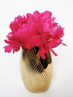 pretty peony in a brass vase