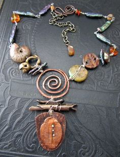 Ancient Treasures and Fossils Necklace by Staci Louise Originals art beads by Artisan Accents by Staci Louise