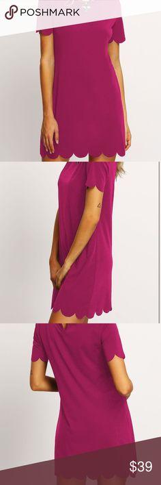 🎉Brand New🎉 Hot Pink Scalloped Dress- NWOT 🎉Brand New🎉 Hot Pink Scalloped Dress- never worn Dresses Mini
