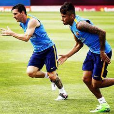 Primeiro treino con Messi ❤️ #NeyMessi @neymarjr