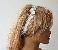 Ivory Lace  Headband Bridal Hair Accessories Wedding by ADbrdal