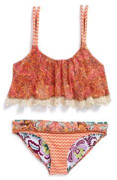 Maaji 'Jolly Melody' Mixed Print Flounce Two-Piece Bikini Swimsuit (Little Girls & Big Girls)