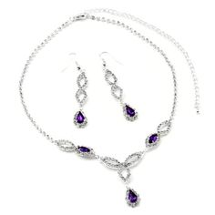 Topwholesalejewel Silver Amethyst Rhinestone Bridal Wedding Party Teardrop Pear Shaped Dangle Earrings & Teardrop Pear Shaped Rhinestone Accent Necklace Jewelry Set Topwholesalejewel,http://www.amazon.com/dp/B00D7RV124/ref=cm_sw_r_pi_dp_nsE8rb0C1RKV3TZS