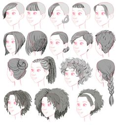 "tealin: "" One of my other jobs on BH6 was to stock the library of hairstyles for crowd people. Here's a sampling of ladies' styles, dropped on the generic head. """