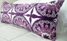 Long Purple Bolster Pillow, Purple Pillow, Bohemian Bedding