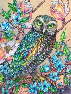 Rainbow Owl with Blue Flowers Signed Print 8x10