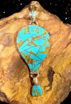 Native American Sterling Silver Turquoise Inlay Hot Air Balloon Pendant | eBay