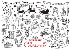 Christmas doodle set of characters and decorations. Santa, Reindeer, Christmas tree, Snowman... Freehand vector drawings isolated over white background.