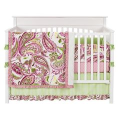 My Baby Sam Paisley Splash in Pink 4pc Crib Bedding Set-Green,Pink