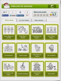 """""""Dibujos de Navidad"""", de fiestas.dibujos.net, presente una gran variedad de dibujos de tema navideño para colorear online."""