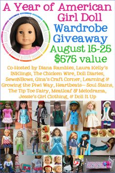"""American Girl Doll Handmade Wardrobe for 18"""" Doll Giveaway $575 value  ends Aug 25"""