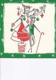 vintage christmas card w\ Mr. and Mrs. Reindeer couple