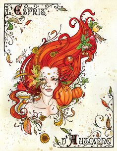 9.25x12 L'Esprit d'Automne watercolor art print by sAm26, $15.00 -fantasy, autumn, leaves, pumpkin, field mouse, harvest, red hair