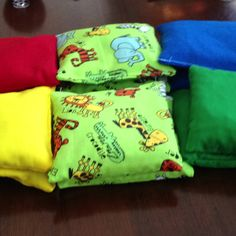 My mom made bean bags for my preschool classroom.  I can't wait to use them with my preschoolers!!!