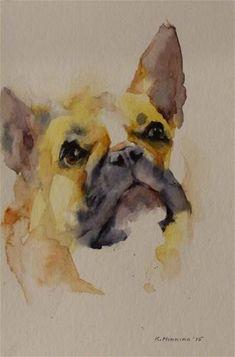 Daily Paintworks - - Original Fine Art for Sale - © Katya Minkina Cãezinhos Bulldog, Cute Cartoon Drawings, Watercolor Animals, Dog Portraits, Animal Paintings, Dog Art, Watercolors, Cute Animals, Fine Art
